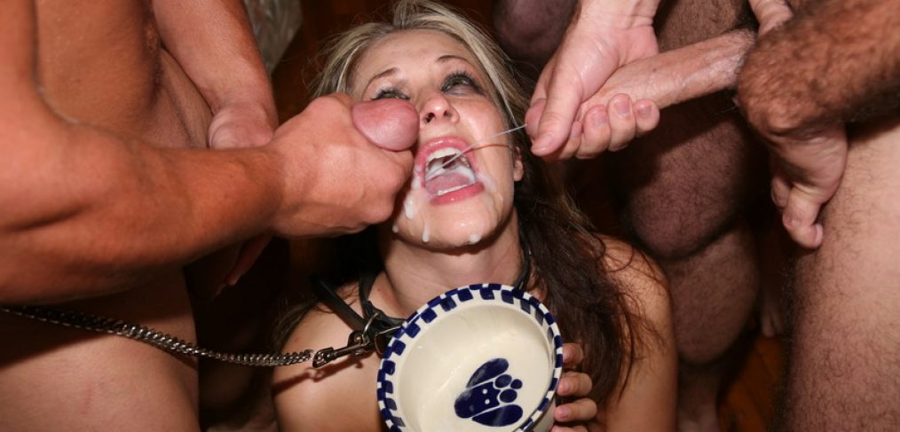 This is a picture of a woman eating semen